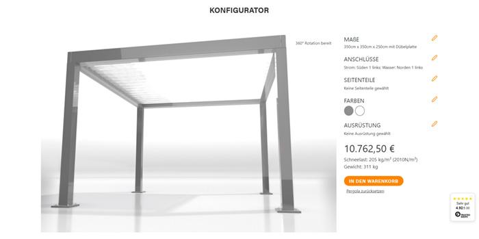 Pergola-Konfigurator von my-pergola24.com